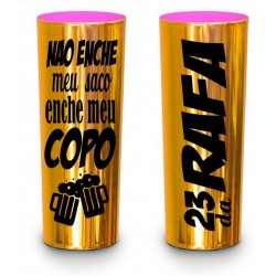 Long Drink Dourado Metalizado Personalizado - Interior Pink (Caixa c/100 unidades)
