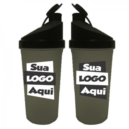 Coqueteleira Fitness Personalizada - 700ml - Preta - Mínimo 100 unidades